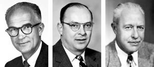 سمت راست: والتر براتاین  ، وسط: جان باردین، سمت چپ: ویلیام شاکلی